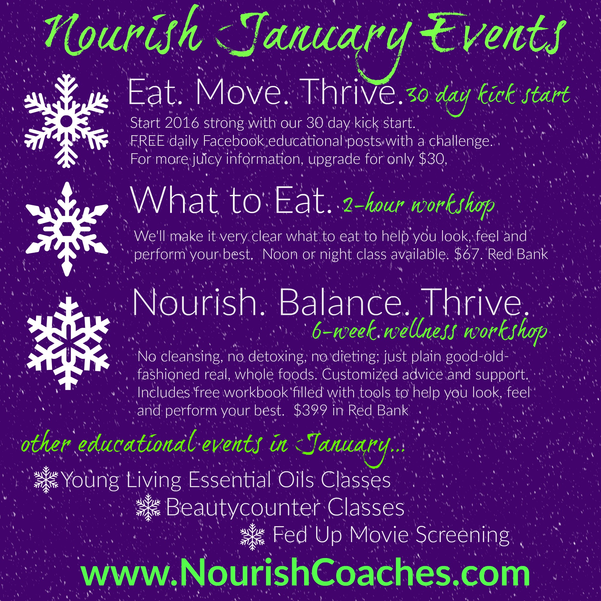 January Events Listing